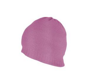 Pink Plain Beanie With Rib 2x1